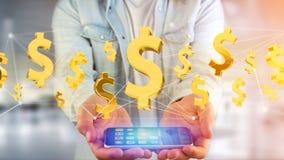 Dollarteken die rond een 3d netwerkverbinding vliegen - geef terug Stock Foto