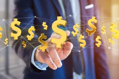 Dollarteken die rond een 3d netwerkverbinding vliegen - geef terug Royalty-vrije Stock Afbeeldingen