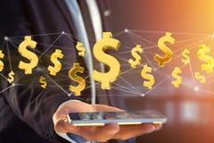 Dollarteken die rond een 3d netwerkverbinding vliegen - geef terug Stock Foto's