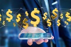 Dollarteken die rond een 3d netwerkverbinding vliegen - geef terug Royalty-vrije Stock Afbeelding