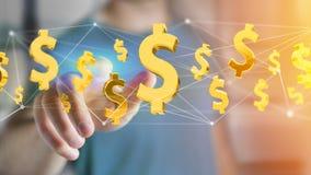 Dollarteken die rond een 3d netwerkverbinding vliegen - geef terug Stock Afbeelding