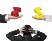Dollarteken en percentageteken met de holding van de zakenmanhand hij Royalty-vrije Stock Foto