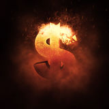 Dollarteken op Brand Royalty-vrije Stock Afbeeldingen