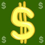 Dollarteken op groene Achtergrond Royalty-vrije Stock Fotografie