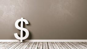 Dollarteken op Houten Vloer tegen Muur Royalty-vrije Stock Foto
