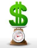 Dollarteken op schaalpan Royalty-vrije Stock Afbeelding