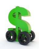 Dollarteken op wielen stock illustratie