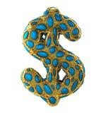 Dollarteken van gouden het glanzen metaal 3D met blauw die glas wordt op witte achtergrond wordt geïsoleerd gemaakt die Stock Foto