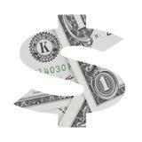 Dollarteken van het alfabet van de dollarrekening op witte achtergrond wordt geplaatst die Royalty-vrije Stock Afbeelding