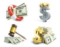 Dollarteken in verschillende gebeurtenissen over een witte achtergrond Royalty-vrije Stock Fotografie