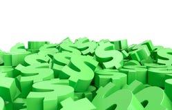 Dollartekens op de vloer 3d geef terug vector illustratie