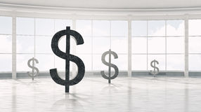 Dollarvalutasymbol 3d framför Royaltyfri Fotografi