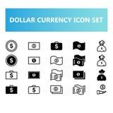 Dollarvalutasymbolen ställde in i heltäckande- och översiktsstil vektor illustrationer