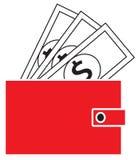 Dollarwährungsikone oder -logo auf Anmerkungen, knallend aus einer Geldbörse heraus Lizenzfreies Stockfoto