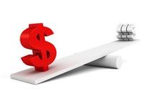 DollarWährungszeichen auf Skalabalance Lizenzfreie Stockfotografie