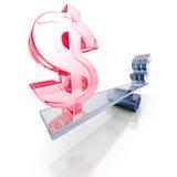 DollarWährungszeichen auf Skalabalance Geschäftsfinanzierung-conce Lizenzfreie Stockbilder