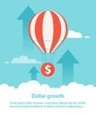 Dollarwachstum Ballon hebt Münze an Lizenzfreie Stockfotografie