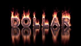 Dollarwoord het branden in vlammen op de glanzende oppervlakte stock videobeelden