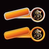 Dollarzeichen auf gekippten checkered orange Fahnen Stockbild