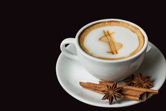 Dollarzeichen auf Lattekunst-Kaffeetasse Lizenzfreie Stockbilder