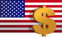 Dollarzeichen auf uns Markierungsfahnenhintergrund - Abbildung Lizenzfreies Stockbild