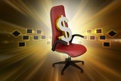 Dollarzeichen, das den Exekutivstuhl sitzt Stockbilder