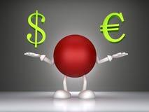 Dollarzeichen des Mannes 3d und der Euro Lizenzfreie Stockfotos