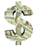 Dollarzeichen gefüllt mit Dollarscheinen Stockbilder