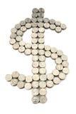 Dollarzeichen von den Münzen Stockfotos