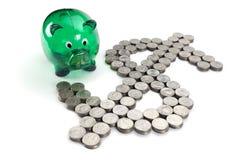 Dollarzeichen von den Münzen Stockbild