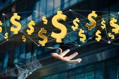 Dollarzeichenfliegen um eine Network Connection - 3d übertragen Stockfotos