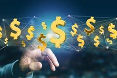 Dollarzeichenfliegen um eine Network Connection - 3d übertragen Stockbilder