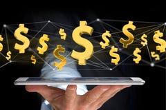 Dollarzeichenfliegen um eine Network Connection - 3d übertragen Lizenzfreie Stockbilder