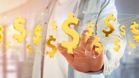 Dollarzeichenfliegen um eine Network Connection - 3d übertragen Lizenzfreie Stockfotografie