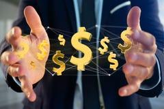 Dollarzeichenfliegen um eine Network Connection - 3d übertragen Stockfotografie