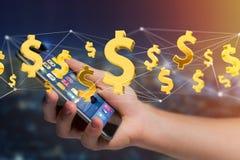 Dollarzeichenfliegen um eine Network Connection - 3d übertragen Lizenzfreie Stockfotos