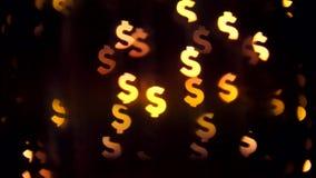 Dollarzeichenhintergrund Schöner Geld Bokeh abstrakter undeutlicher Currancy-Symbol-Hintergrund 4K stock footage