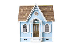 Dollhouse de madeira de vista realístico isolado no whi Imagens de Stock