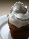 Dollop of cream on cake. Dollop of cream on a piece of pound cake Royalty Free Stock Image