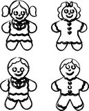 Dolls. Four dolls illustrations on white background Royalty Free Stock Photos