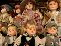 Dolls. Group of antique porcelain dolls stock photography