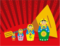 Dolls and balalaika. Multicolored dolls and balalaika are shown in the picture Stock Photos
