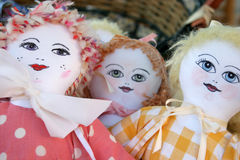 Dolls in a basket. Handmade dolls for sale in a basket Royalty Free Stock Photo