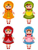Dolls collection. Collection of cute dolls in vintage dresses and bonnets Stock Image