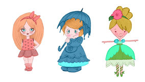Dolls. Colorful children, simply design Royalty Free Stock Photo