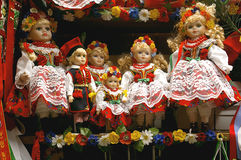Dolls from Cracow. Dolls in traditional cracow costume in souvenir shop in Cracow, Poland royalty free stock images