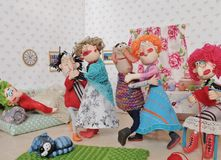 Dolls dancing. Cold porcelain clay sculpted puppets Royalty Free Stock Images