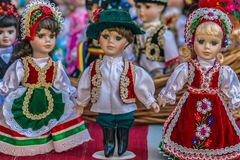 Dolls dressed in traditional Hungarian folk costumes stock photo