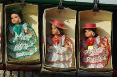 Dolls in flamenco dress. Seen in the shop in Barcelona, Spain Royalty Free Stock Photos