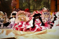 The dolls of handmade cloth in fair free royalty free stock photos